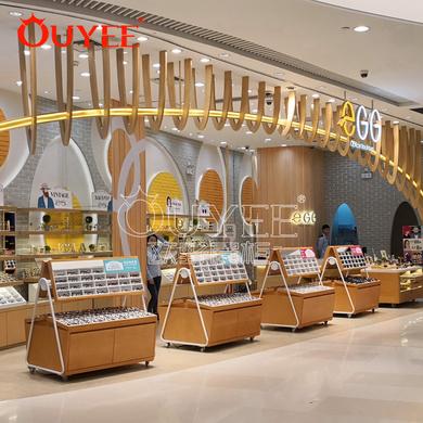 新款时尚眼镜展示柜  木纹烤漆展示柜台 工厂批发定做展示柜