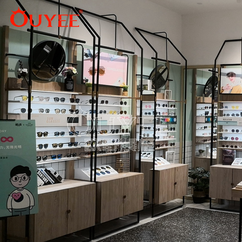 新款畅销眼镜展示柜 快时尚木纹眼镜展示柜 工厂定做展示柜