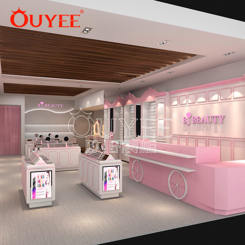 美容化妆店展示柜定做  木质烤漆化妆品香水展示柜  工厂定做化妆品柜
